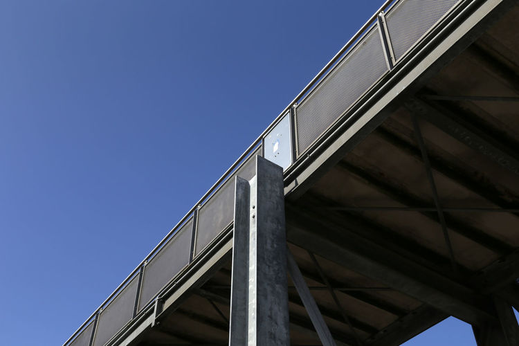 1016, Bredstedt, Brücke Architecture Blue Bridge - Man Made Structure Bridge Railing Brigde Building Exterior Built Structure Clear Sky Connection Day Engineering Low Angle View Modern No People Outdoors Steel