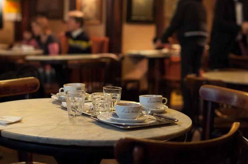 Tea cups on table
