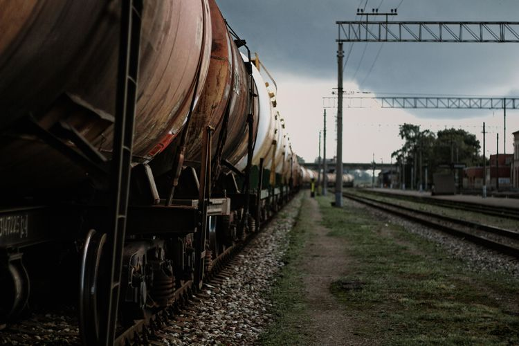 The freight train is waiting to get picked up. Chooo Chooo Train Tracks Freight Train Freight Transportation Rail Transportation Railroad Track Sky Track Train Train - Vehicle Train Station Transportation