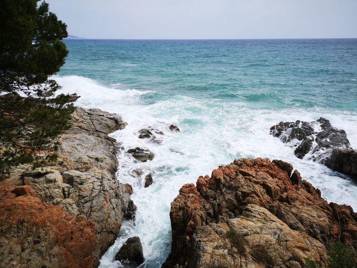 Mountain and beach = Coast Brave ,Catalonia Water Sea Wave Beach Rock - Object Sky Horizon Over Water Rocky Coastline Coast
