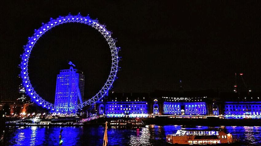 Night out... London Eye Nightlights Blue Lights  River Thames Cruise London's Buildings Nightlife Walking Around The City  Beautiful View Reflection