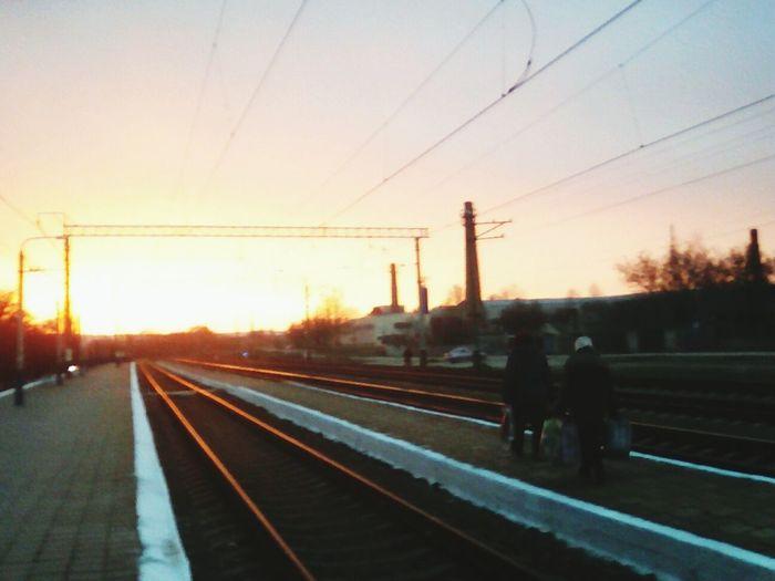 Railroad Track Sunset Sky Rail Transportation Transportation Power Line  Electricity Pylon Outdoors Tree No People Day