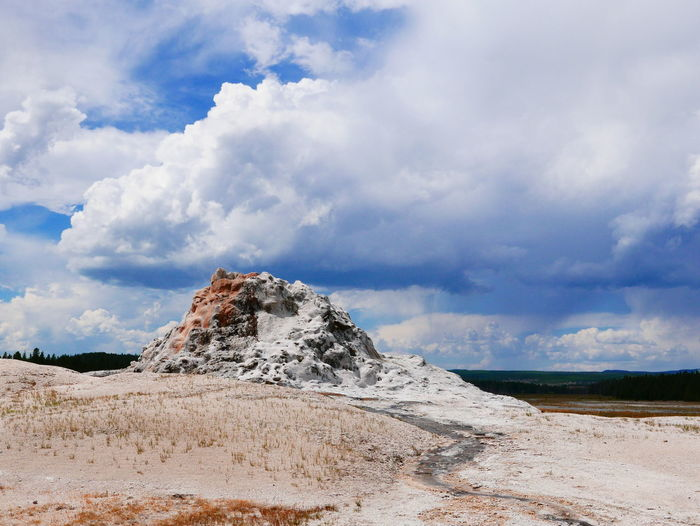 Yellowstone National Park Cloud - Sky Geological Formation Geology Geyser Geyser And Clouds Hot Spring Mineral Outdoors Physical Geography Salt - Mineral