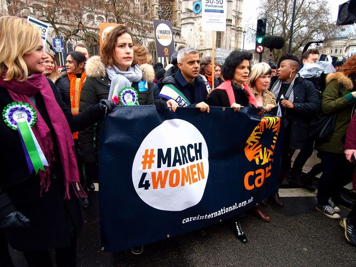 March4Women 04/03/2018 London. UK Stevesevilempire Steve Merrick London News Olympus Zuiko Protest Equality Womens March March4Women Bianca Jagger Sadiq Khan Text Communication Togetherness Protestor Day Large Group Of People Real People