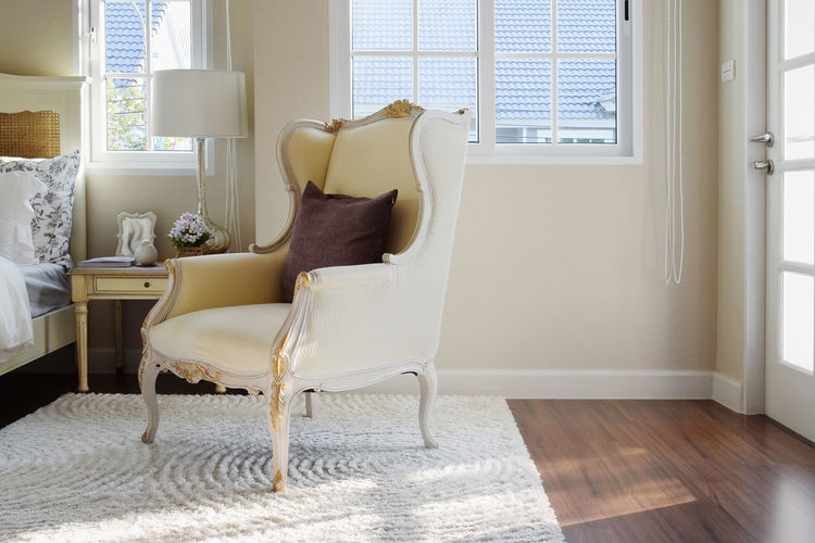 Empty Chair In Living Room At Home