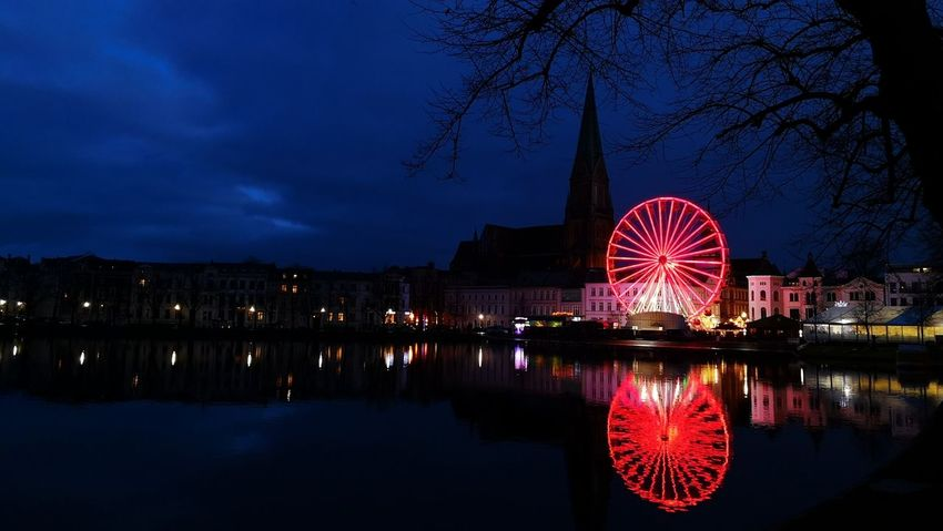 Night Christmas Lights Christmastime Christmas Decoration Christmas Market Schwerin Mecklenburg-Vorpommern Arts Culture And Entertainment Ferris Wheel Illuminated Reflection Vacations Nightlife Outdoors Architecture Sky City Cityscape
