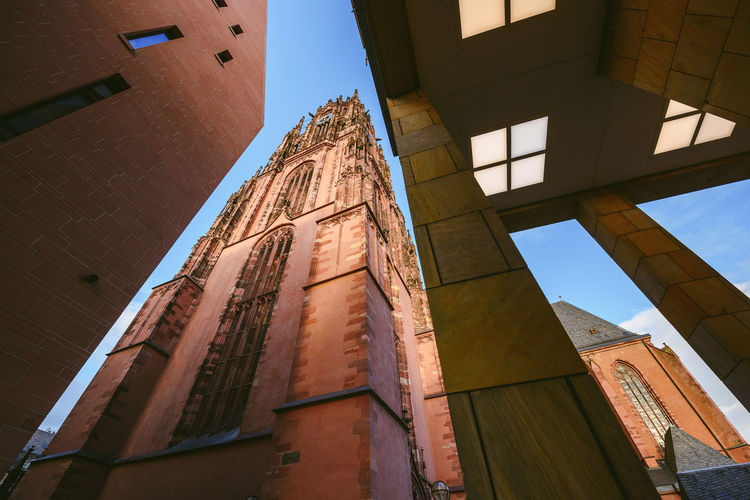 Low angle view of frankfurt cathedral and building
