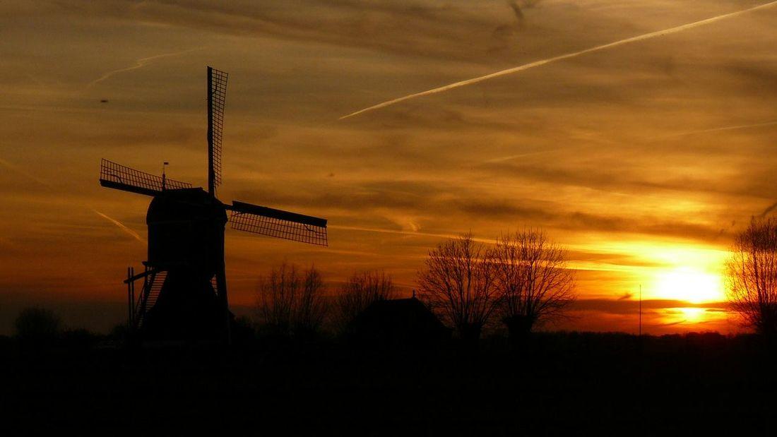 Windmill Silhouette Sunset