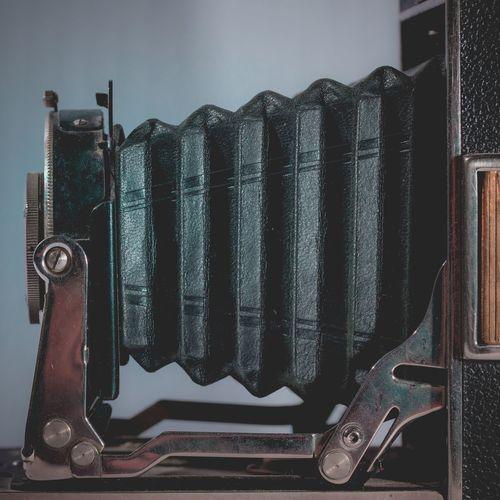 Close-up of antique camera