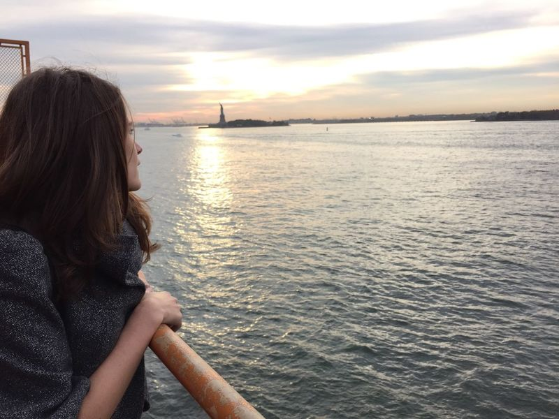 Staten Island Ferry Statue Of Liberty Looking Out City Escape Tourist Sunset Water On The Way My Year My View