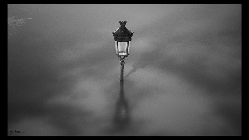 Cloud - Sky Electric Lamp Flood Ile Saint Louis Illuminated Long Exposure Paris Reverbere  Street Light Tranquility White And Black