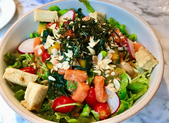 Tofu Salmon Salad Food Food And Drink Healthy Eating Ready-to-eat Wellbeing Vegetable Freshness High Angle View Still Life Close-up Meal Indoors  Fruit Table Salad Bowl Serving Size No People Indulgence Healthy Lifestyle