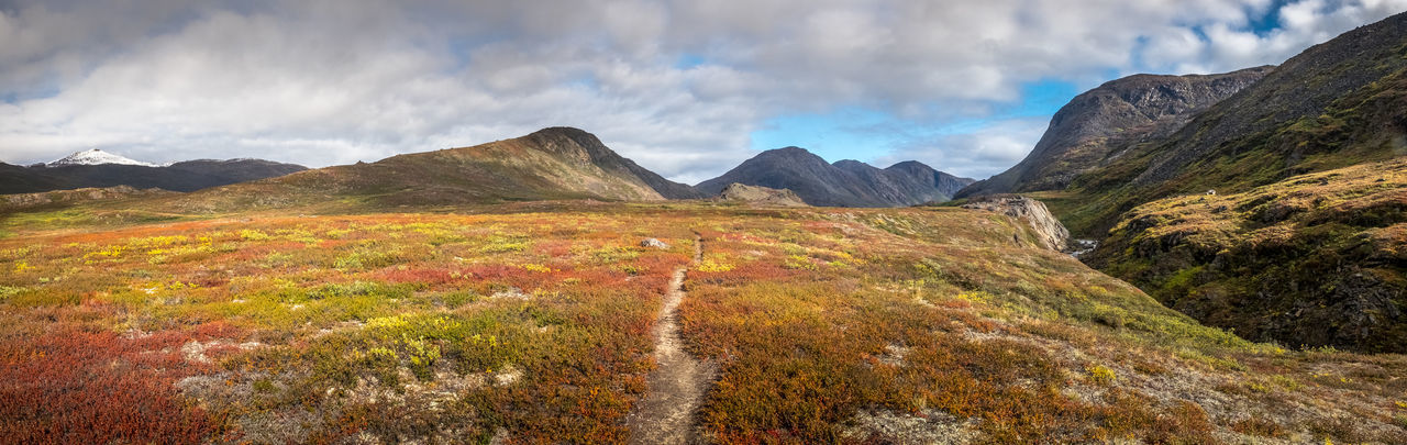 e Greenland The Week On EyeEm Arctic Circle Trail Autumn Beauty In Nature Cloud - Sky Day Landscape Mountain Mountain Range Multi Colored Nature No People Outdoors Scenics Sky Tundra Wilderness