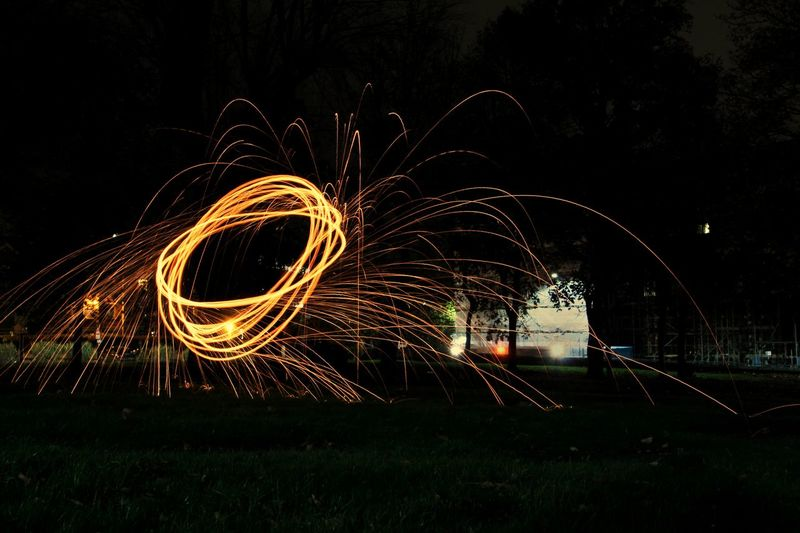 Night Long Exposure Illuminated Wire Wool Motion Outdoors No People Sky Nightphotography Night Lights Night Photography Colour Motion Photography Sparks Sparks Fly Speed
