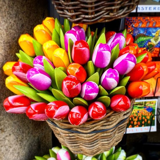 Wooden Tulips🌷 in Prinsengracht in Amsterdam Multi Colored Basket Retail  No People Market Freshness Large Group Of Objects Choice Close-up Variation Indoors  Day Flowers Colors