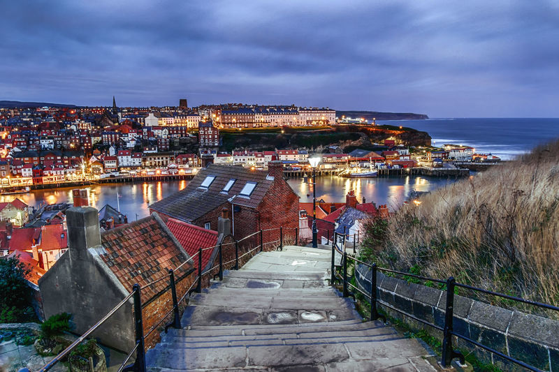 Houses Architecture Architecture_collection Rooftop England Great Britain United Kingdom Europe Whitby Whitby Harbour Steps And Staircases Steps Stairs City Cityscape City Life City Street Illuminated Long Exposure Yorkshire Architecture Outdoors Illuminated Harbor No People
