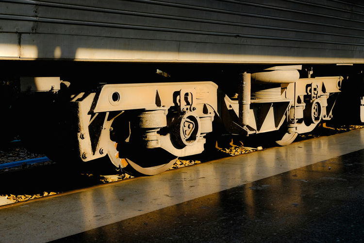 Graffiti on train at railroad station platform