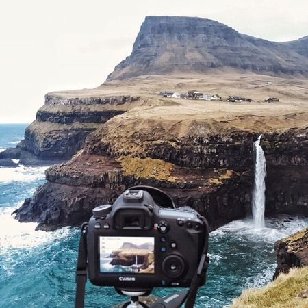 Faroe Islands Gasadalur Waterfall Nature Sea Landscape Camera - Photographic Equipment Scenics Coastline Outdoors Mountain Beauty In Nature No People Village Camera Photography Photographer