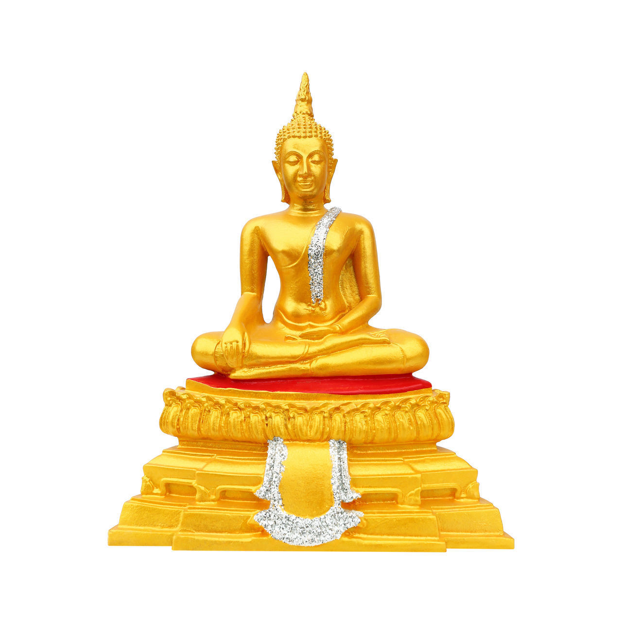gold colored, religion, belief, sculpture, statue, studio shot, spirituality, no people, place of worship, indoors, art and craft, white background, representation, human representation, male likeness, copy space, yellow, ornate, idol
