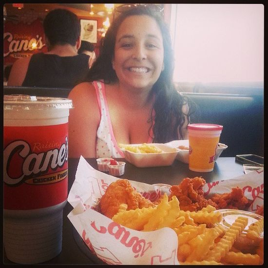 Cane's Chicken fingers for lunch! Birthdaylunch Bestchickenfingers Cometocali TurntUp