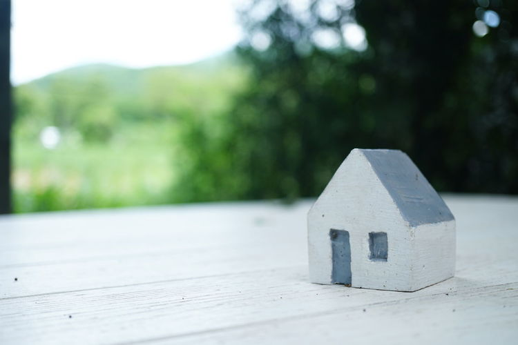 small wood house on white table Architecture Built Structure Close-up Concrete Day Focus On Foreground Geometric Shape Green Color Growth Nature No People Number Outdoors Plant Selective Focus Shape Single Object Still Life Table Tree Wood - Material