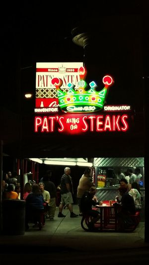 Pat's Steaks in Philadelphia P.A. United States. My favorite place for cheesesteaks!! Taking Photos Enjoying Life Night Lights Beautiful Places Great Views Food Cheesesteak Crowd Neon Lights Smellsgood