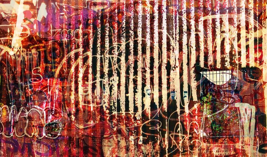urban insomnia Twilight Bloodshed Fine Art Photography Full Frame Red Pattern Backgrounds Decoration Wall - Building Feature Built Structure Text Hanging Multi Colored Creativity Graffiti Communication Art And Craft