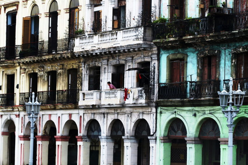 2010 Arch Architecture Avana Balconies Building Exterior Cuba Day Full Frame Man Outdoors Streetlights