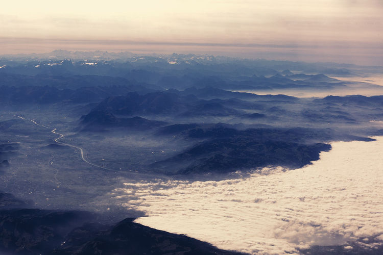 Aerial View Cloud - Sky Dramatic Sky Flight Fog Landscape Mountain No People Plane Sky Sunset Window