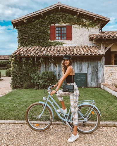 🌿🚲 First Eyeem Photo Les Sources Day Building House Transportation Built Structure Outdoors Young Women Nature Building Exterior Bicycle Architecture Lifestyles Adult Riding Leisure Activity Young Adult Casual Clothing Women One Person Real People
