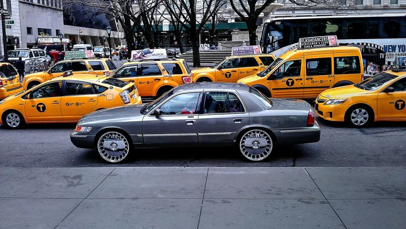 ... mirror rims and the taxis Car City City Life City Street Mirror New York New York City Rims Road Taxi Traffic Transportation Vehicle
