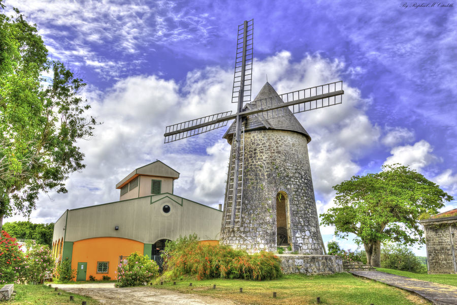 Bellevue Marie Galante Distiĺlerie Rhum Architecture Built Structure Tree Windmill Cloud - Sky Traditional Windmill Building Exterior