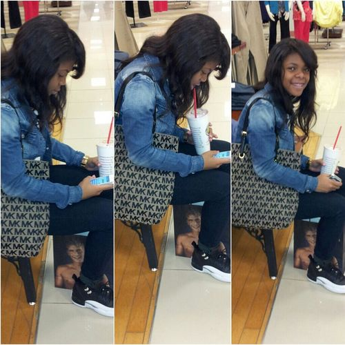 My sister in the mall today..her cute ass lol I love her to death