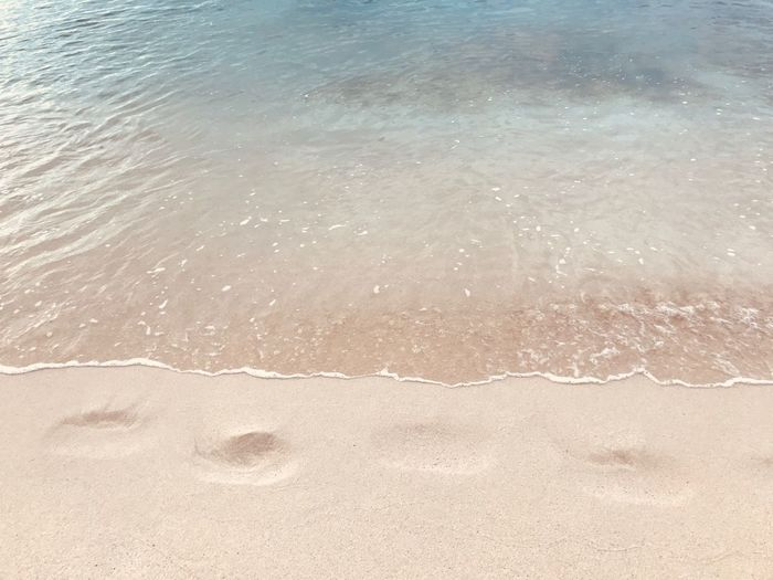 Footprints in the sand Beach Sand Water Nature Shore Sea No People Day Outdoors Beauty In Nature Tranquility Backgrounds Scenics Close-up Footprints In The Sand Footprints