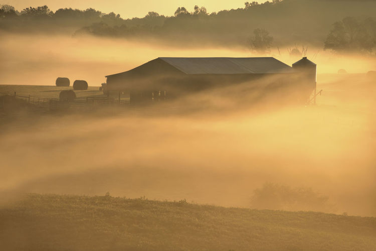 Barn on field in foggy weather during sunrise