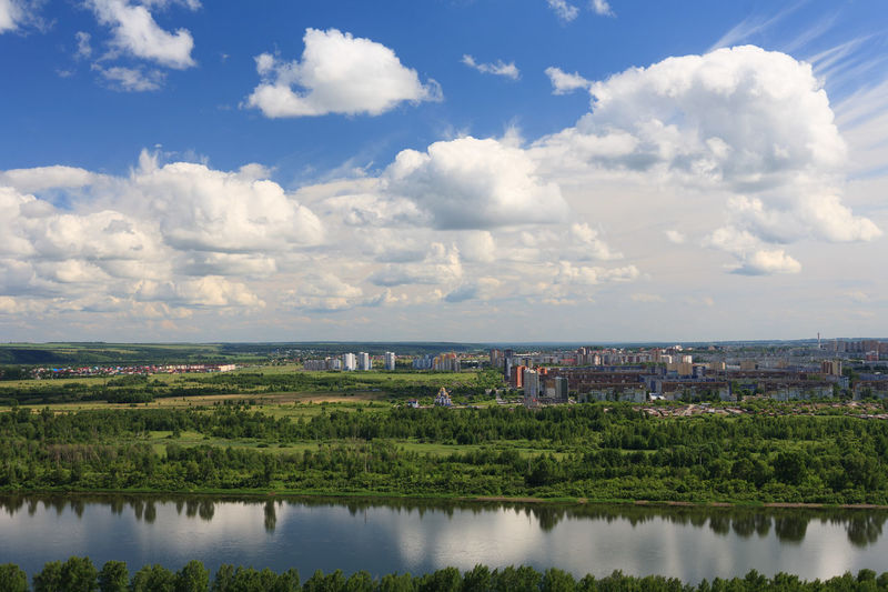 East side of Kemerovo city. City Suburban Landscape Architecture Building Exterior Built Structure City City Suburb Cityscape Cloud - Sky Environment High Angle View Kemerovo Landscape No People Outdoors Reflection Siberia Sky Summer Tranquility Water