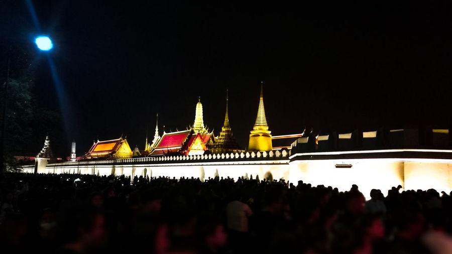 Temple Night Travel Cultures Palace Thailand Bangkok