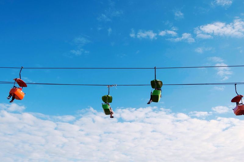 Where are they going? 🤔 Low Angle View Hanging Sky Outdoors Cloud - Sky Day Cable Car Blue Sky