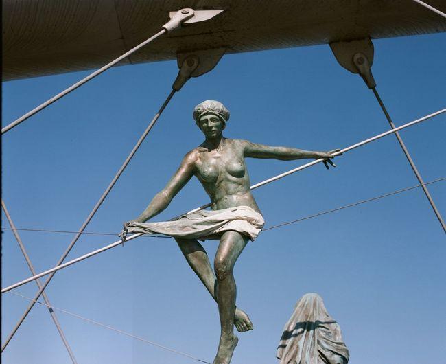 Analogue Film Poland Suspended Travel Bridge Krakow Krakow Bridge Statues