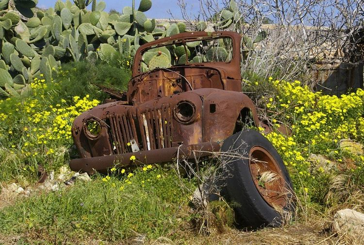 taken back. ex army truck in Malta Abandoned Damaged Transportation Old Land Vehicle Mode Of Transport Rusty Discarded Weathered Wreck No People Transportation Nature Malta