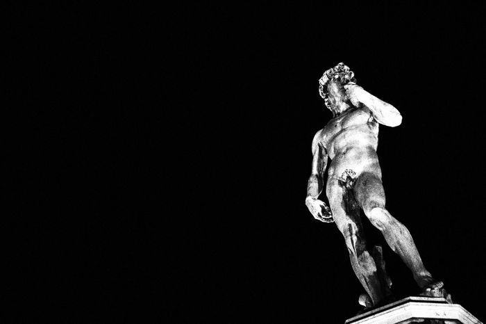 The Night Watch Statue Sculpture Human Representation Low Angle View Fine Art Statue Night David Michelangelo Florence Italy Blackandwhite EyeEm Selects