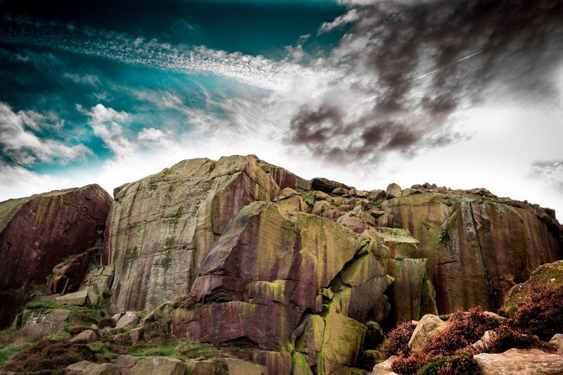 Drama In The Sky Cloud - Sky Sky Nature Plant Beauty In Nature Scenics - Nature Tranquility Environment Rock Non-urban Scene Rock - Object Day Mountain No People Land Low Angle View Landscape Tranquil Scene