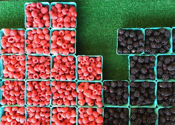 Directly above shot of berry fruits for sale on table