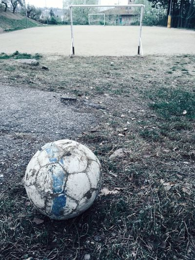 Close-up of soccer ball on grass