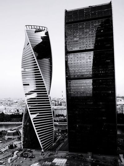 Black And White Photography Dark Photography monochrome photography Black & White Black And White Blackandwhite IPhoneography Skyscrapers Moscow City Architecture Building Exterior Built Structure Sky Building City Nature No People Day Skyscraper Tall - High Outdoors Travel Destinations Office Building Exterior Tower Modern Clear Sky