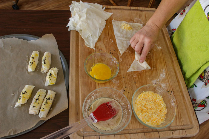 Baking Cutting Board Egg Yolk Food Food And Drink Freshness High Angle View Human Body Part Human Hand Indoors  Ingredient Preparation  Preparing Food Table