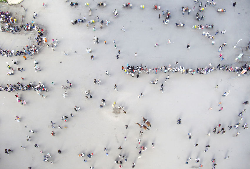 From Above  Many People Waiting Waiting In Line Celebration Crowd Day Helicopter View  High Angle View Large Group Of People Lifestyles Men Outdoors People Real People Rows Of People Together Women