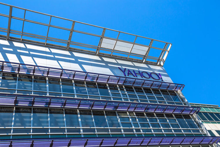 Sunnyvale, California, United States - August 15, 2016: Yahoo Headquarters facade building. Yahoo is a multinational technology company that is known for its web portal. Company Multinational Sunnyvale USA United States Yahooweather America Architecture Blue Building Building Exterior Built Structure Clear Sky Close-up Day Headquarters Hq Low Angle View No People Outdoors Search Engine Sky Street Sunnyvale Street Yahoo