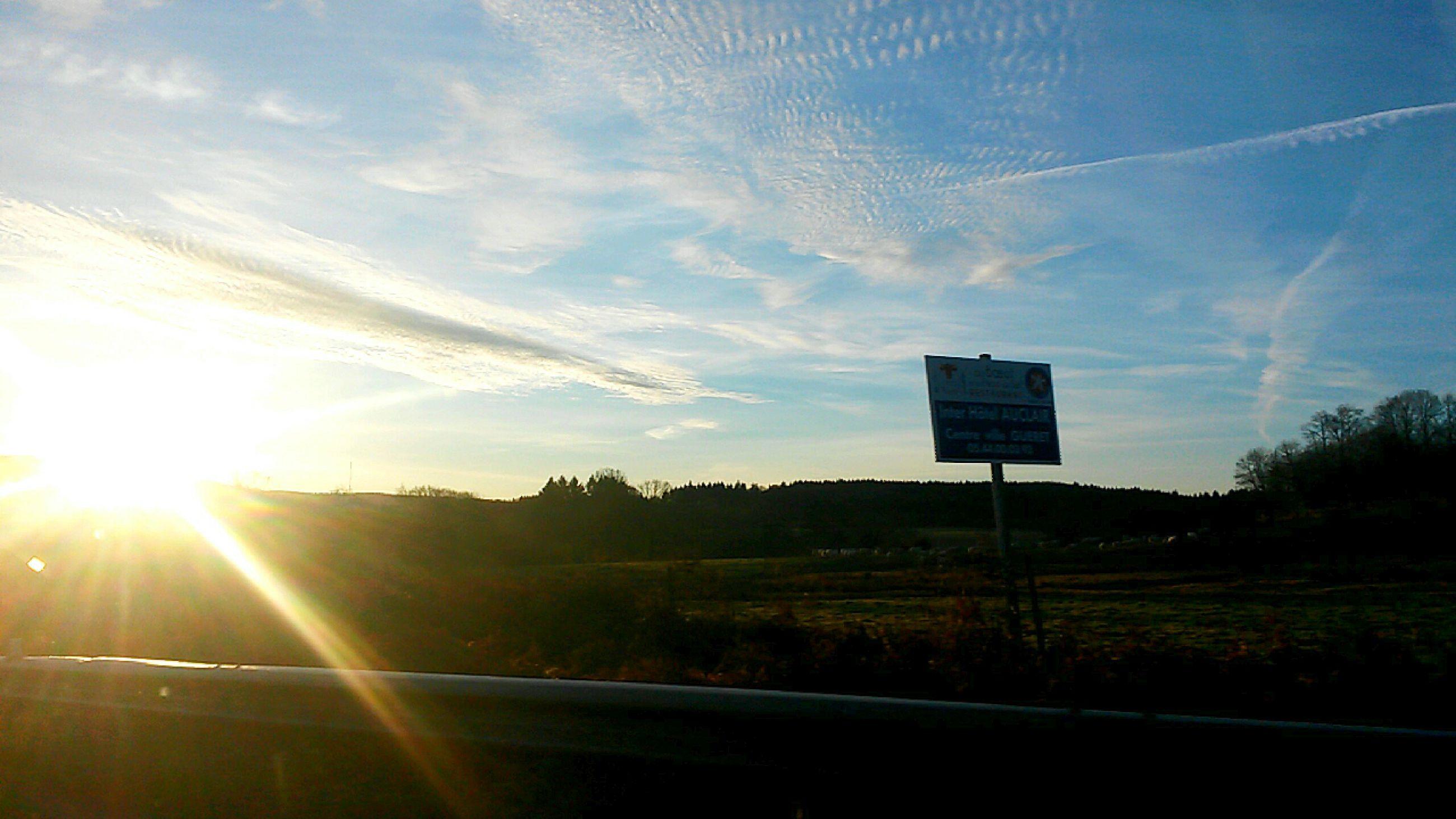 tree, sky, landscape, sun, transportation, sunset, tranquility, sunlight, scenics, field, tranquil scene, nature, road, sunbeam, beauty in nature, cloud - sky, no people, lens flare, silhouette, cloud