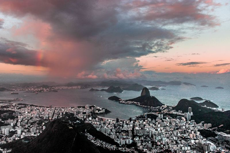 Sugar Loaf seen from Corcovado Guanabara Bay Botafogo Rio Rio De Janeiro Pão De Açucar Sugar Loaf Sky Sea Water Beach Cloud - Sky Sunset Nature Beauty In Nature Land Outdoors Horizon Over Water Scenics - Nature Tranquility Tranquil Scene Rock Silhouette